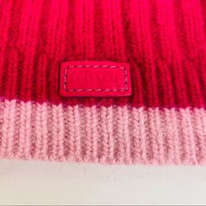 Coach Pink Wool, Rabbit Angora And Cashmere Beanie